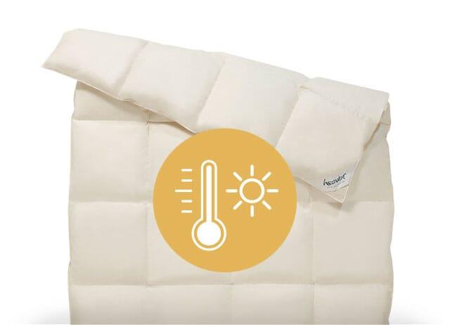 Nachhaltige Bettdecken der Wärmeklassen 1 und 2.