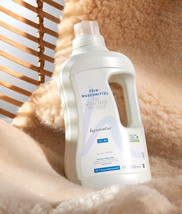 Feinwaschmittel für Wolle, Seide und Felle.