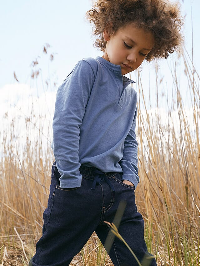 Bio-Denim aus Bio-Baunwolle in Blau.