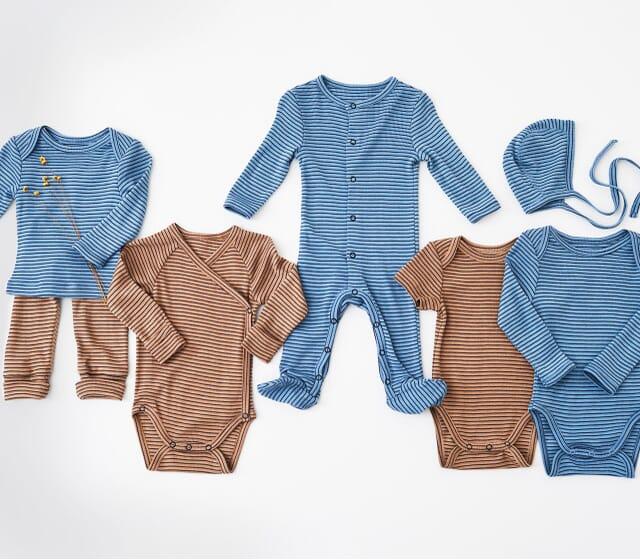 4er Set Schurwolle und Seide in Blau und braun.