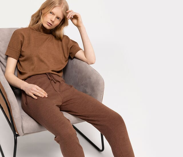 Women's clothing made from organic new wool